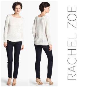 Rachel Zoe Karla Open Knit White Sweater S